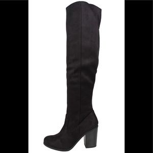 Shoes - Black faux suede open back over the knee boot
